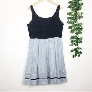 LOFT Sleeveless Eyelet Striped Summer Dress